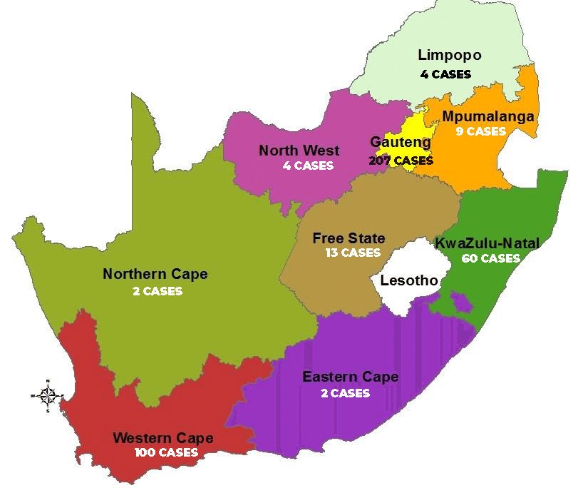 Covid Map: COVID-19 MAP OF SOUTH AFRICA